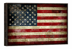 Framed Canvas Wall Art Print Picture Home Office Decor Vintage American Flag