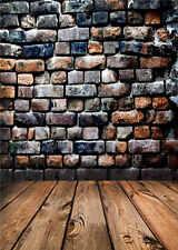 Brick Wall Photography Backdrops for Studio Wooden Floor Background Vinyl 5x7FT