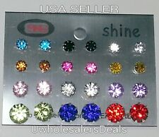 12 Pairs Crystal Ear Studs Earrings Assorted Sizes/Colors with Silicone Cups