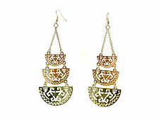 Earrings Brand New Unique (Cl8) Ladies Gold Azteck Look Chunky