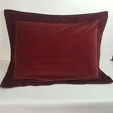 """Pottery Barn Standard Pillow Sham Burgundy Red Velvet Knife Edge 20x26"""""""