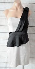 REVIEW Dress Sz 8 Small Black Pink Cocktail Shift One Shoulder Peplum