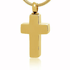 Memorial Cremation Jewelry,Pendant,Keepsake Ash,Funeral Urn,CROSS Plain Gold