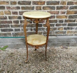 Gorgeous Gilt French Roccoco Style Small Console Brass Side Table Marble Top