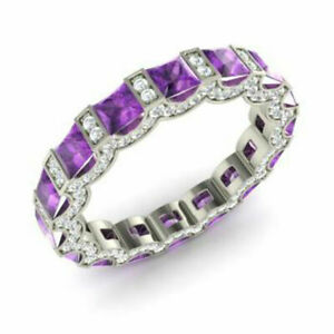 3.88 Carat Real Diamond Amethyst Bands 14K Solid White Gold Rings Size M N O P Q