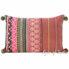 "16 X 24"" Burgundy Pink Dhurrie Pillow Cover Case Striped Bolster Lumbar S"