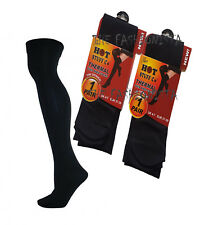 2X LADIES BLACK THERMAL OVER THE KNEE SOCKS WINTER HOT STUFF CO TOG 140 DENIER