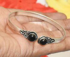 Bracelet 925 Silver Overlay U287-B165 Black Onyx Gemstone Adjustable Cuff Bangle