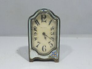 RARE ART DECO PERIOD ZENITH STERLING SILVER AND ENAMEL CLOCK NO KEY