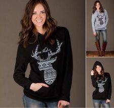 New Women Loose Hoodie Hooded Long Sleeve Deer Casual T Shirt Blouse Tops S
