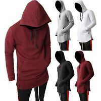Mens HOODIE Zipper longline Elongated Hipster Hip Hop Fashion Sweater QUILTED