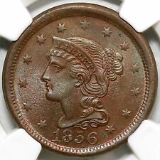 1856 N-11 Ngc Ms 66 Bn Upright 5 Braided Hair Large Cent Coin 1c