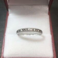 New Thin 14k Solid White Gold Handmade Diamond Cut Design ring Band 2.8mm S10.75