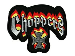 Ecusson CHOPPERS croix de Fer flammes Malte biker iron cross Patch Parche Toppa