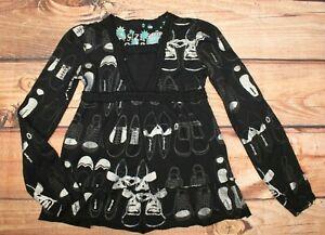 Desigual Girls Top Blouse Long Sl. Black Sparkle 9-10 Years