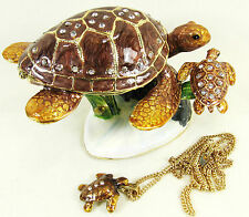 Sea Turtles in the Coral Jeweled Pewter Trinket Box w/ Necklace Sea Life