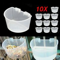 10Pcs 10x6x7cm Plastic White Bird Parrot Pet Cage Aviary Water Food Bowl