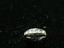 9CT YELLOW GOLD ETERNITY DIAMOND RING SIZE P 5 GEMSTONES IN ALL NICE SIZE BAND