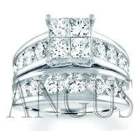 4.49 ct Princess cut Diamond Engagement Ring Wedding Band Solid 14k White Gold