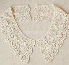 1Pair Cotton Lace Floral Collar Crochet Neckline Sewing Applique Trim Sewing DIY