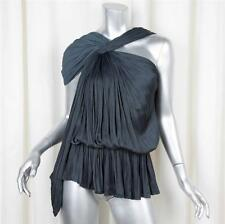 LANVIN SS2011 RTW Womens Charcoal Pleated Satin One-Shoulder Top Blouse 36/4