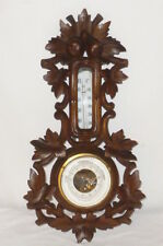 Old Art Nouveau Wood Barometer Thermometer Wettergerät Wetterstation Carved Rare