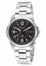 Seiko Solar Powered GMT Black Stainless Steel Men's Watch SNE095