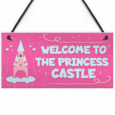 Princess Castle Plaque Door Playroom Bedroom Sign Gift Baby Girl Fairytale Decor
