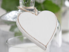 8 BOXED WHITE WOODEN HEART VINTAGE WEDDING DECORATION TABLE SETTING BIRTHDAY