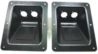 (2) Two Black Large Recessed Dish Plates for Speakon or XLR Connectors.