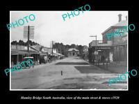 OLD LARGE HISTORIC PHOTO OF HAMLEY BRIDGE SA, THE MAIN STREET & STORES c1920
