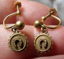 Vittoriano Oro Giallo 18 CARATI, timbrato Ferro di Cavallo Orecchini a goccia a vite su WL82