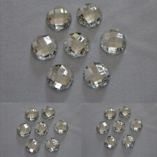 25 x 20mm Crystal Clear 24 facets flat back round rhinestone diamante gems
