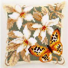 Arancione Farfalla Grande Forata Tappezzeria Tela Cuscino Kit/Doppio Punto Croce