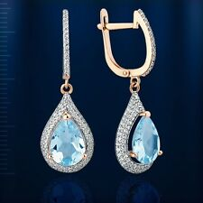 Russische Rose Gold 585 Ohrringe mit Topas Rose gold drop topaz earrings !
