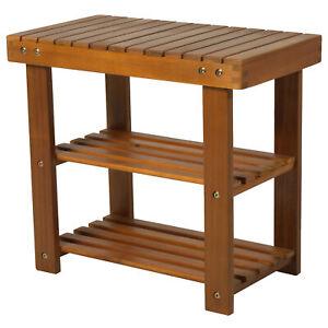 Short Shoe Rack Slatted Wooden Storage Seat Unit Entryway Space Saving Furniture