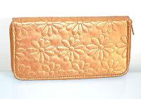 PORTAFOGLIO donna borsello ORO BRONZO fiori pelle borsellino clutch x borsa 1275