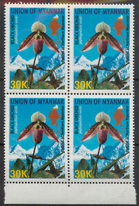 Myanmar 2004 Flora 30k black orchid block of 4 SG 380 MNH mint COMBINED SHIPPING