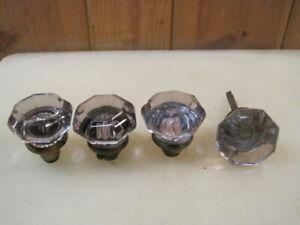 (4) Antique PURPLE Toned Glass Doorknobs  B4850