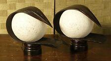 coppia abatjour etnica in cocco con palla di cotone bianca cm 31 x 13 x H 25