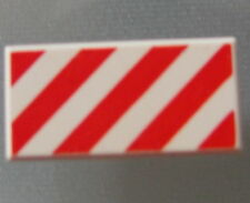 LEGO 3069bpb034 @@ Tile 1 x 2 Diagonal Stripes Red Pattern @@ 4500 8063 8654