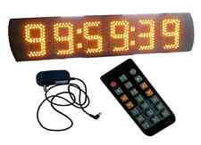 "Yellow 5"" Large LED Race Timing Clock Countdown/up Timer Wall Clock IR Remote"