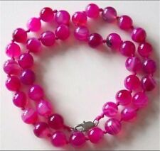 10MM RARE PINK CHALCEDONY AGATE BEADS NECKLACE18'' JN349