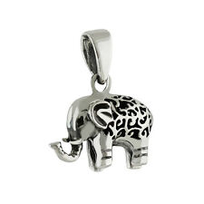 Elephant Pendant - 925 Sterling Silver - Zoo Animal Tusks Gray Large 3D NEW