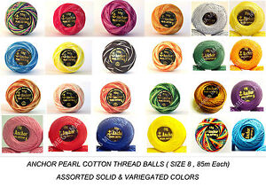 Anchor Pearl Cotton embroidery crochet thread ball size 8 ,85m , Assorted colors