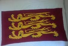 "King Richard's Banner Three Lions Flag Applique Sewn Handmade Linen 72""x38"" Vtg"