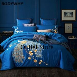 Luxurious Blue Chinese Style Bedding Set  Embroidery Egyptian Cotton Bedlinens