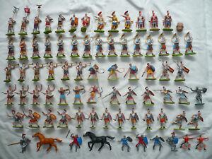 76 Elastolin HAUSSER Preiser 7cm Figuren Römer Ritter Normannen Pferde