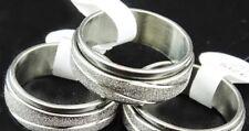 Stainless Steel Silver Spinner Men Women Ring Non Tarnish Size 20