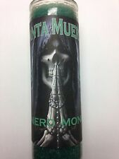 HOLY DEATH 7 DAY GREEN CANDLE IN GLASS PREPARED FOR MONEY (SANTA MUERTE DINERO)